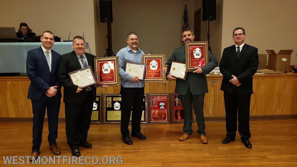 30 Year Award Recipients: (l-r)Vice President Nate Maronski, Jim Heckers, Bill Tessing IV, Dan Devitt (receiving for John Young) President Matt Gallagher.