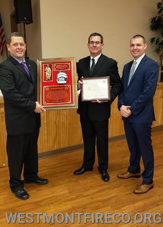 40 Year Award Recipient: (l-r)Joe Piscopio (receiving for Mike Moore) President Matt Gallagher and Vice President Nate Maronski.