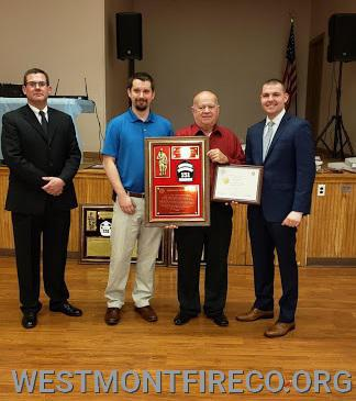 45 Year Award Recipient: (l-r)President Matt Gallagher, Steve Horner (presenting), Ken Horner and Vice President Nate Maronski.
