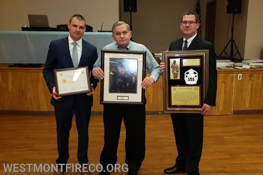 65 Year Award Recipient Joseph W. Kite: (l-r)Vice  President Nate Maronski  Joe Kite (son) and  President Matt Gallagher.